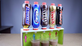 DIY simple milk drinks dispenser with Snickers, M&M's, Twix, Mars and Milky Way