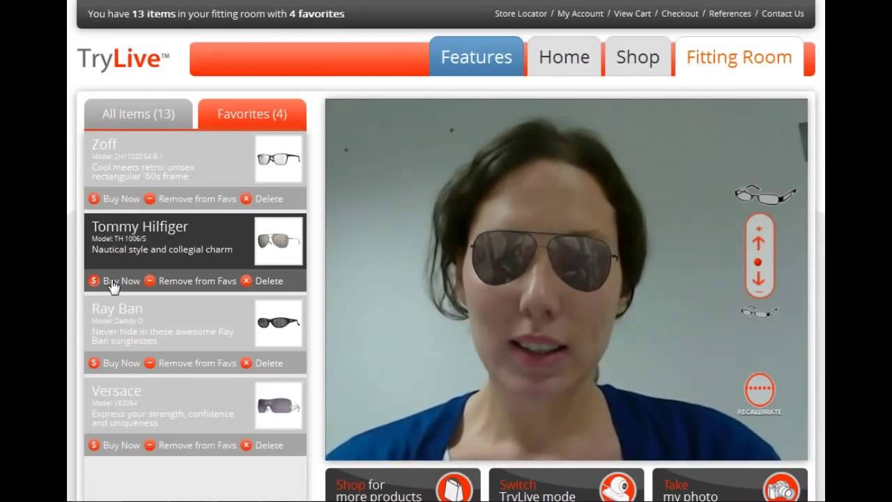 1917aaec5e Virtual Fitting Room TryLive Eyewear by Total Immersion Augmented Reality