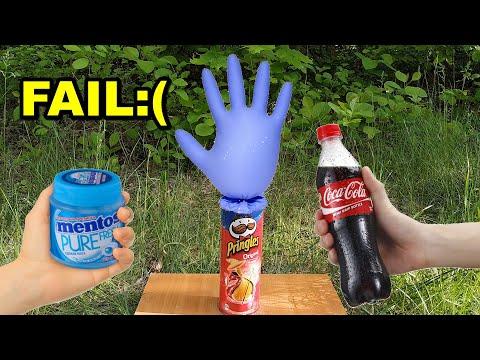 Coca Cola vs Mentos and Pringles (Fail experiment)