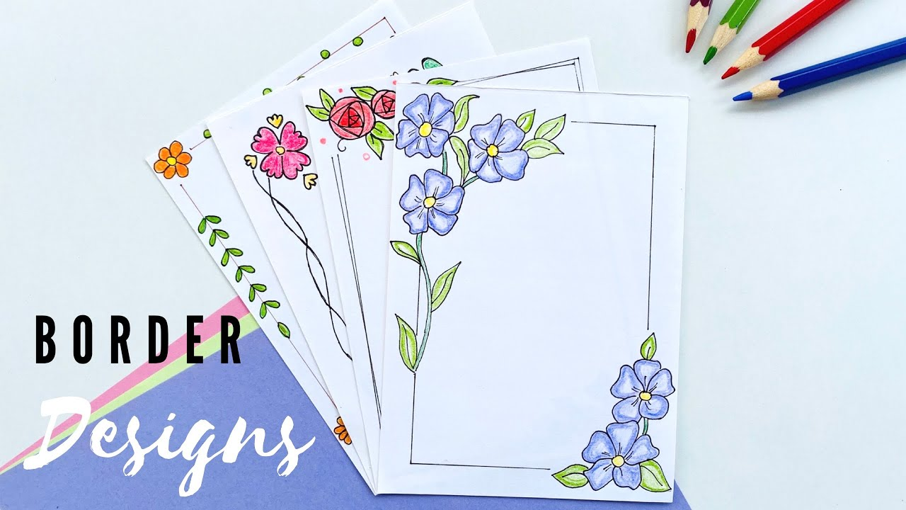 Easy border designs for project file pages kids art craft source:. 4 Easy Attractive Border Designs Border Designs On Paper Designs For Front Page Paper Design Noreva Projects