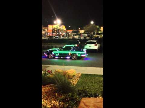 Crazy car with neon and strobe lights