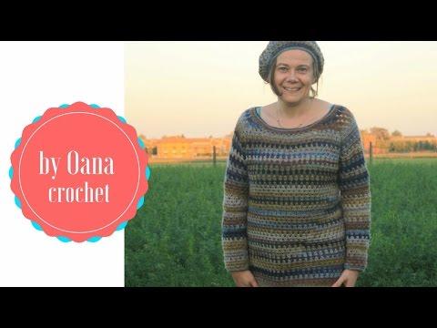 Crochet granny stitch sweater. The yoke- by Oana