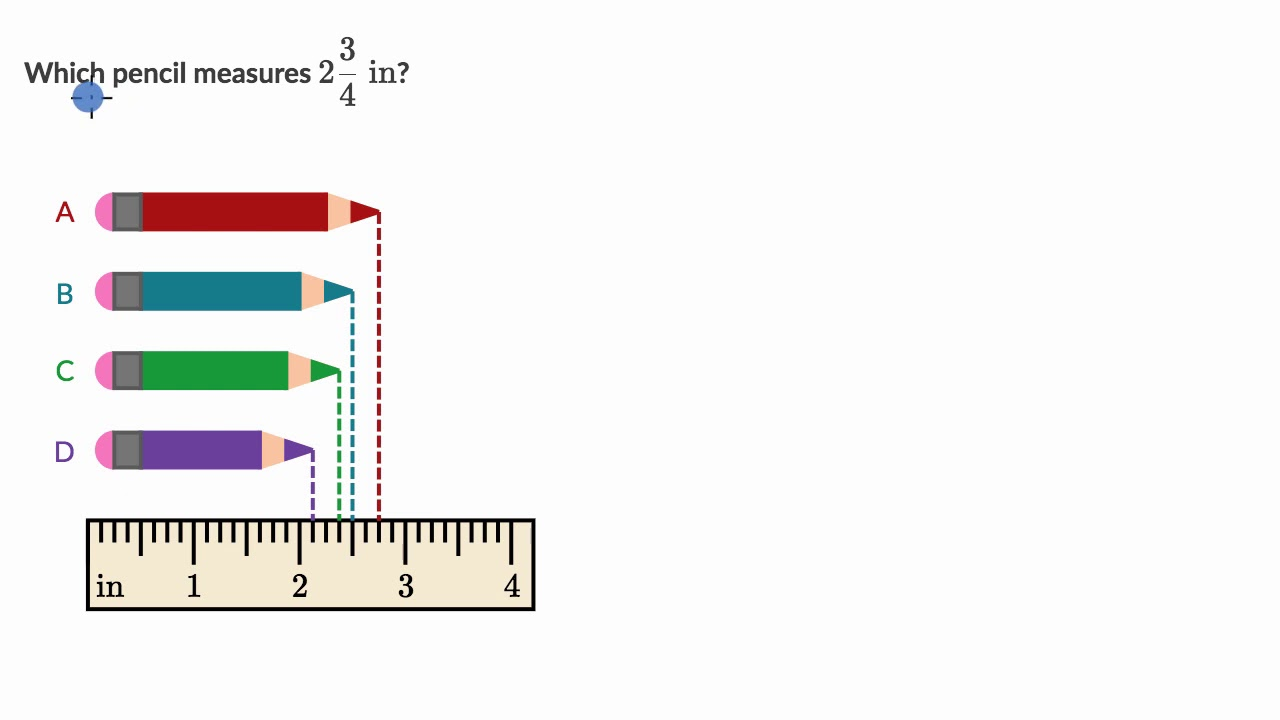 small resolution of Measure lengths to nearest 1/4 - YouTube