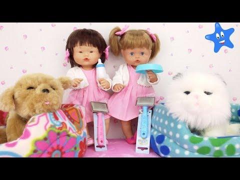 Ani y Ona ya tienen sus MASCOTAS DE JUGUETE Comen, se mueven, ladran, maullan Little live Pets