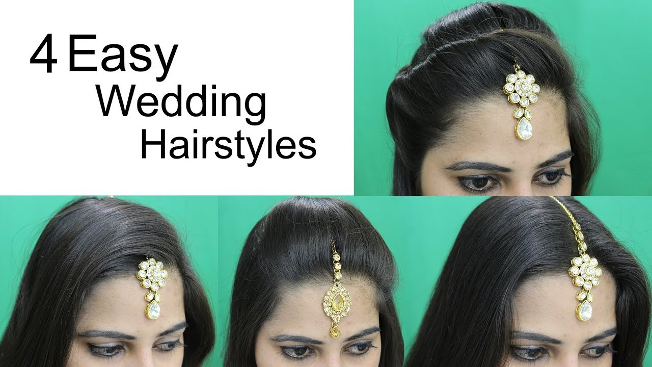 making of hair style 4 easy hairstyles for wedding hairstyle with maang tikka 6868 | maxresdefault