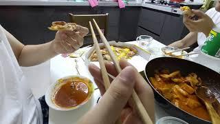 일반인 먹방 집떡볶이 + 주먹밥 + 청년피자 먹방