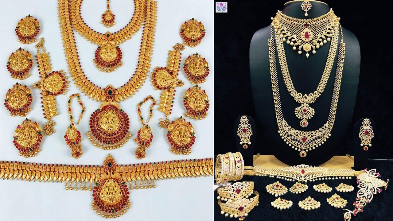 Latest Bridal jewellery set of necklace earrings bangles chains   Latest one gram gold jewellery