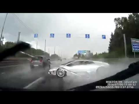 РАЗБИЛ ЛАМБУ на мокрой дороге Авария ДТП Россия Москва