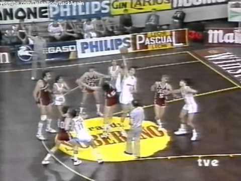 Real Madrid vs USSR (Christmas Tournament 1984) Sabonis breaks the backboard