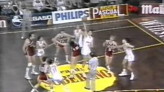 Real Madrid vs USSR (Christmas Tournament 1984) Sabonis breaks the backboard