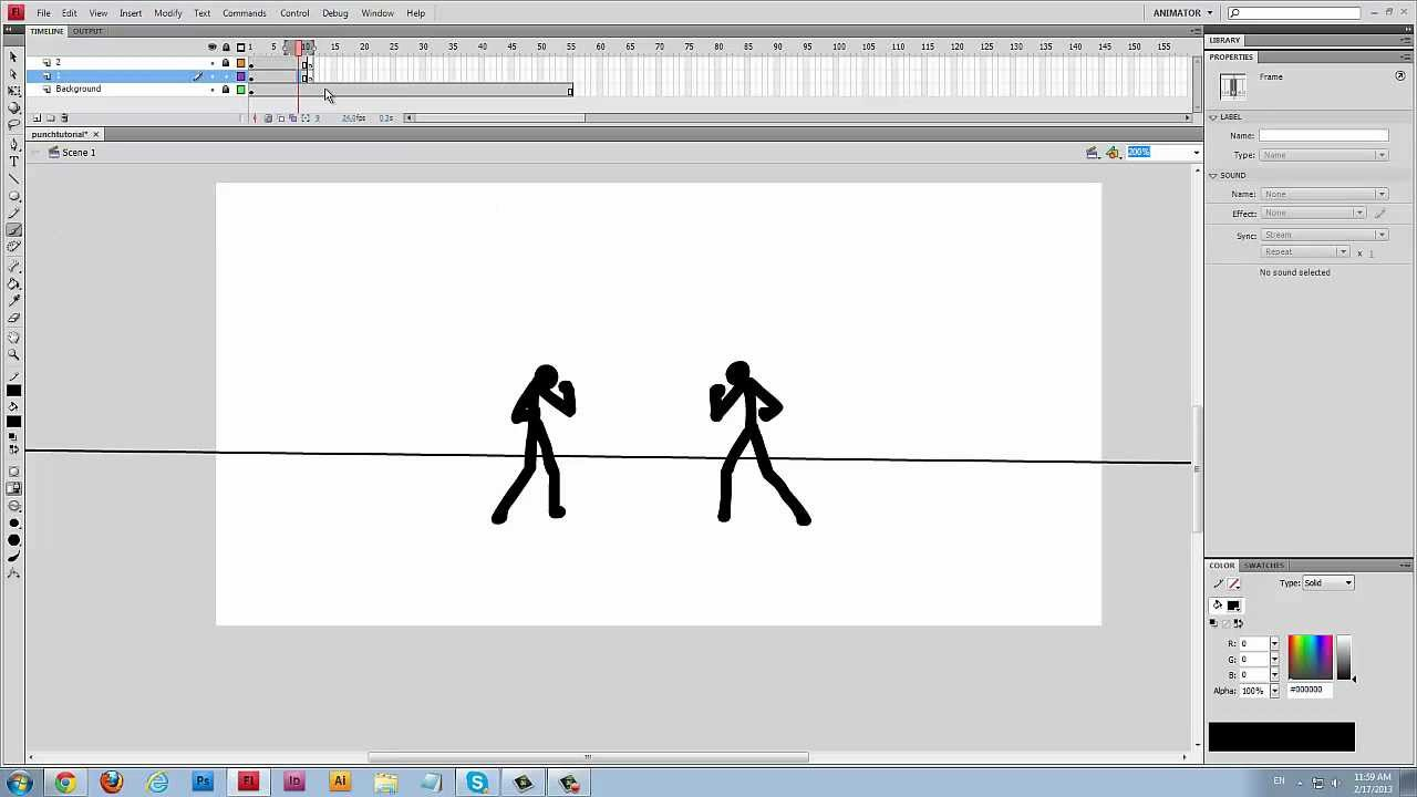 Stick Figure Flash Tutorial  How To Animate Punches! [nhazul]