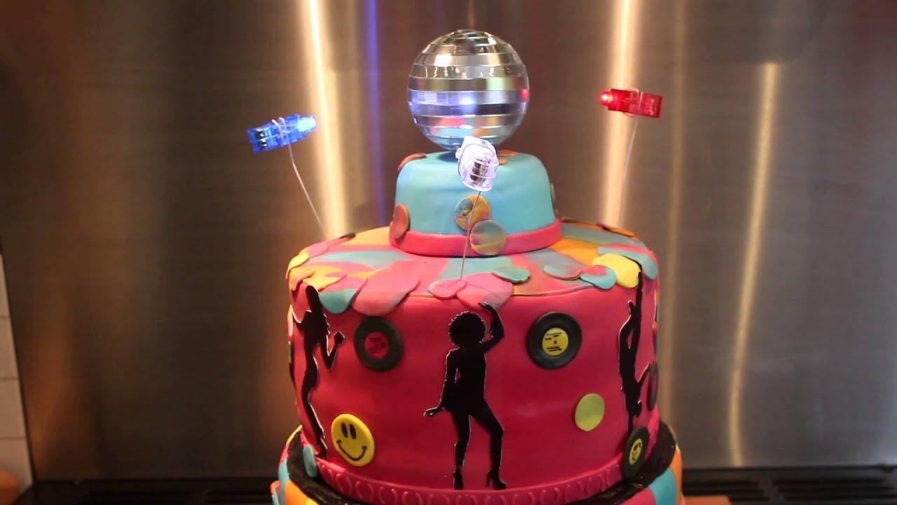 50th Birthday Cake 80s Theme With Working Disco Ball Youtube