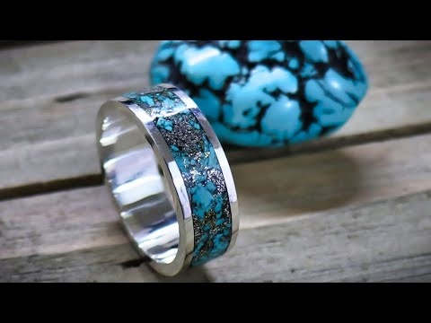 How to make a silver and turquoise inlay ring without a lathe