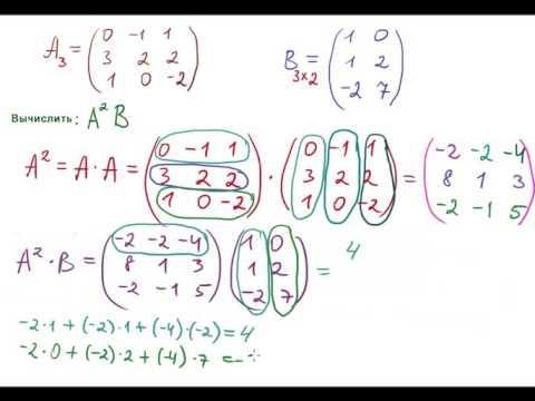 Вычислить (А^2)B. Произведение матриц