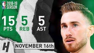 Gordon Hayward Full Highlights Celtics vs Raptors 2018.11.16 - 15 Pts, 5 Ast, 5 Rebounds!