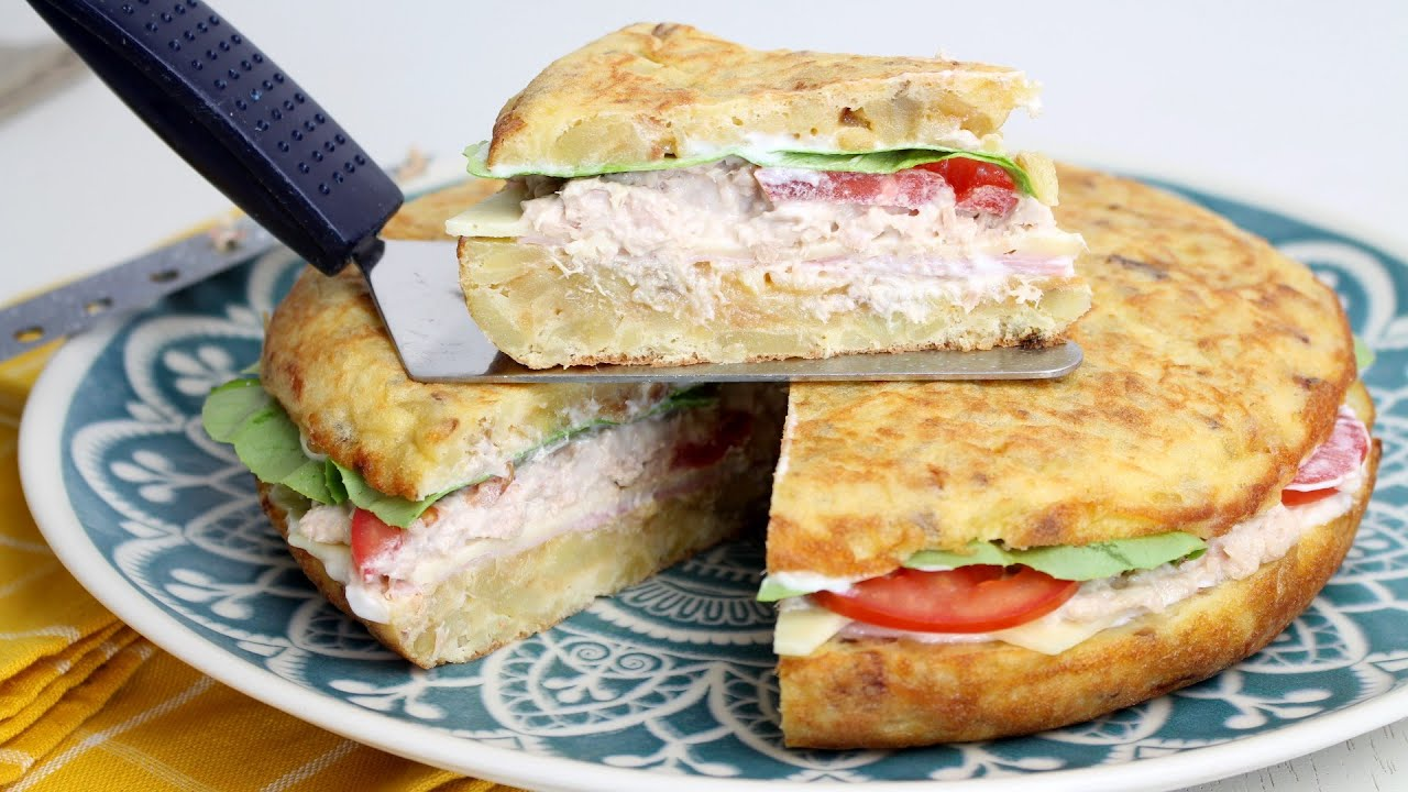 🥚🥔TORTILLA RELLENA FRÍA🥔🥚 | Tortilla rellena de verano o tortilla sandwich vegetal🥬🍅