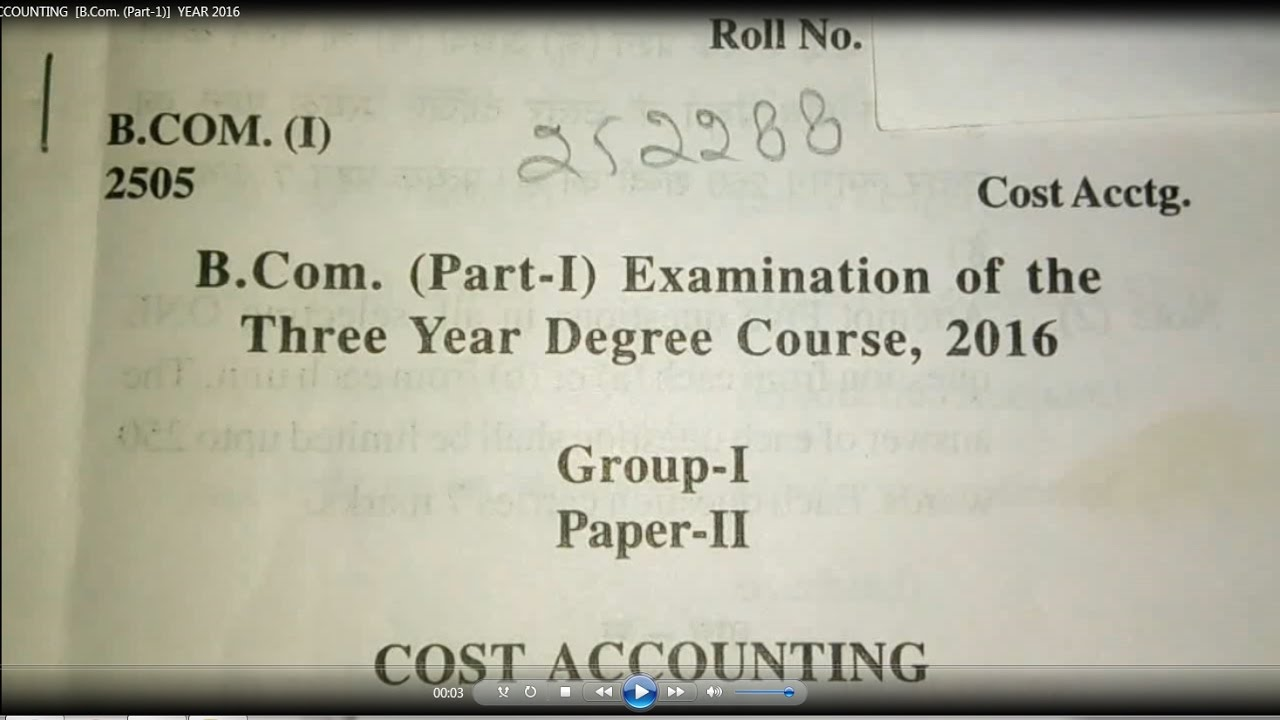 COST ACCOUNTING B Com Part 1 YEAR 2016