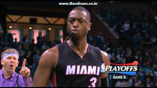 Dwyane Wade 5 points, one block in a minute vs CHA
