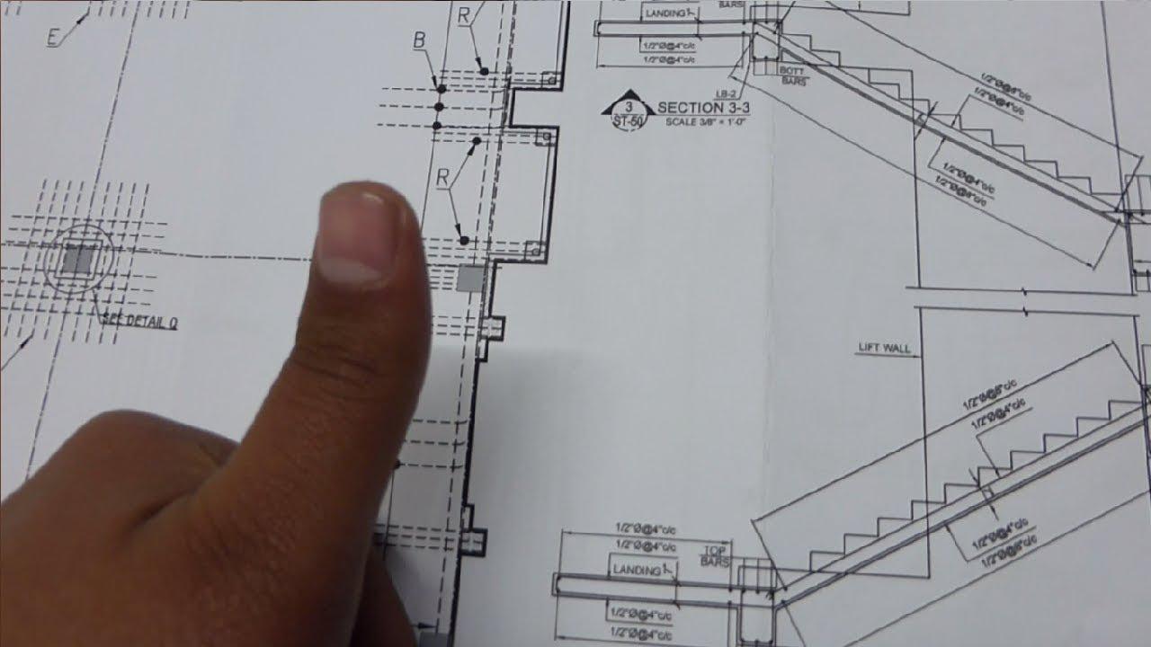 Rcc Stair Reinforcement Drawing Plan Youtube