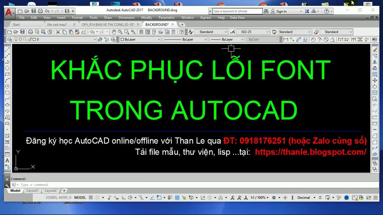 Khắc phục lỗi font CAD