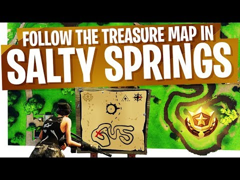 Follow the Treasure Map found in Salty Springs EASY & FAST - Season 4 Week 3 Fortnite Treasure Map