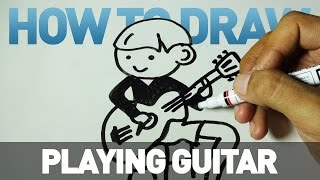How to Draw a Cartoon - Playing Guitar (Tutorial Step by Step)