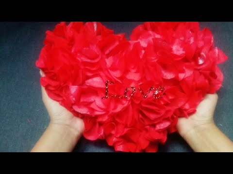 Diy Heart Cushion from shopping bag...Valentine day special craft..shopping bag recycled live crafts