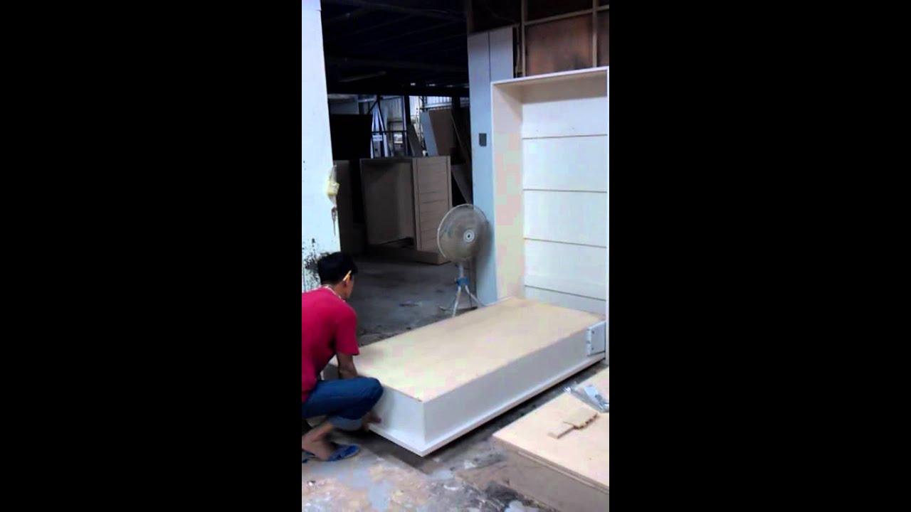 單人壁式收納掀床訂製案例.新毅家具收納掀床專業訂製廠 - YouTube