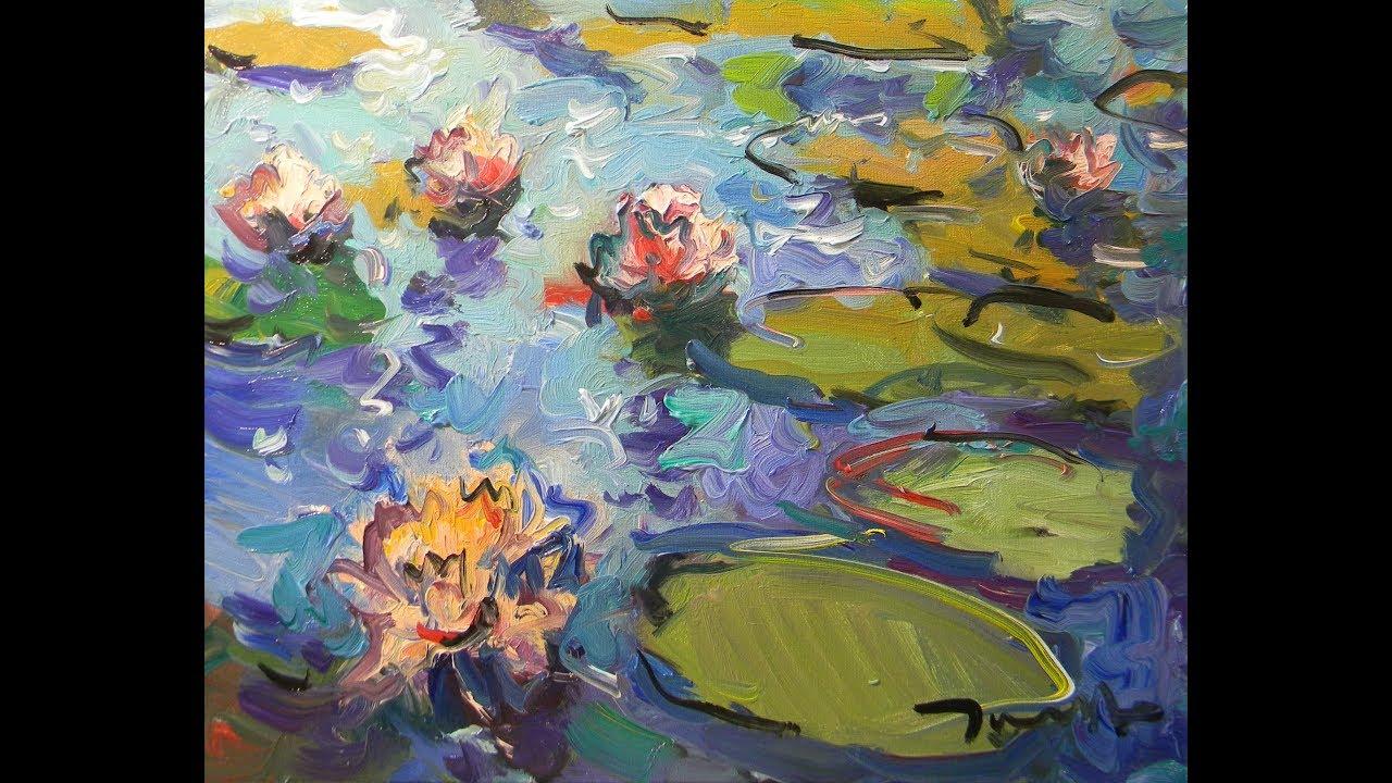 Oil Painting Waterlilies, Loose Brush Painting! Artist JOSE TRUJILLO