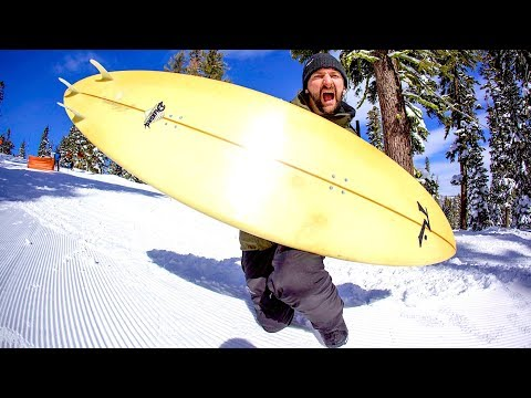 SNOWBOARDING A SURFBOARD IN LAKE TAHOE?!