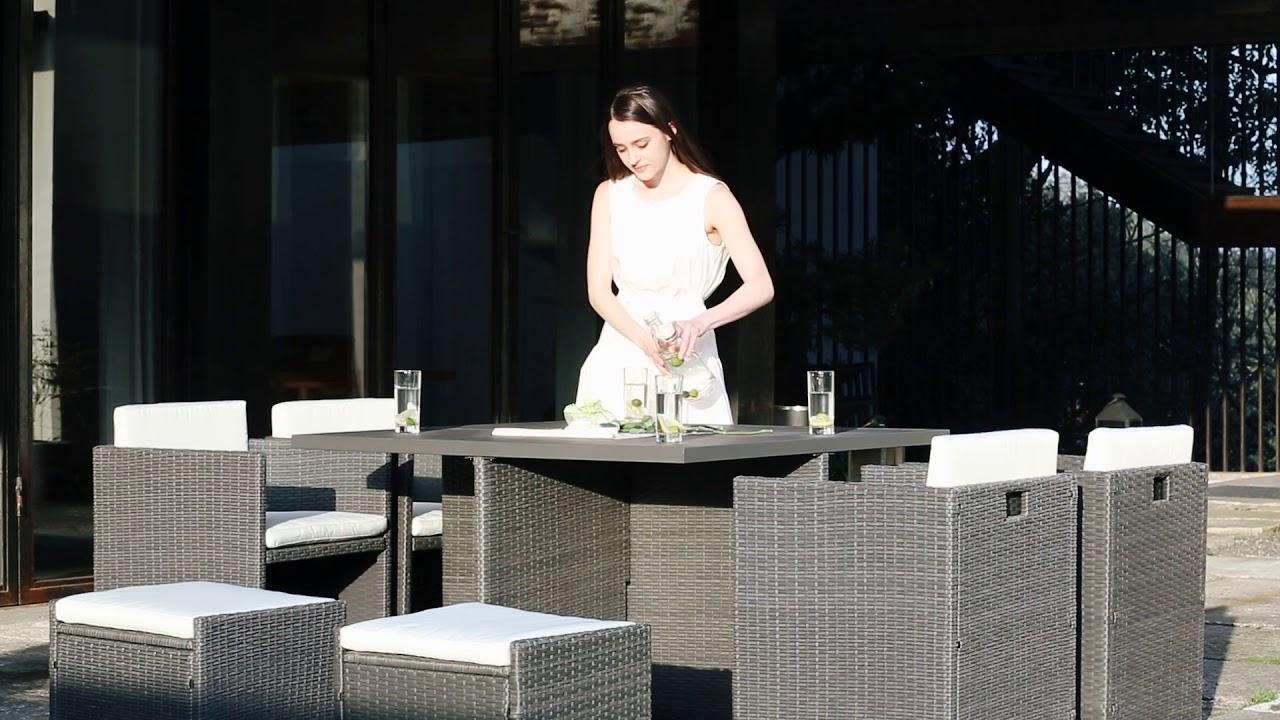 Salon de jardin en résine tressée Sunset 8 places - Concept Usine ...