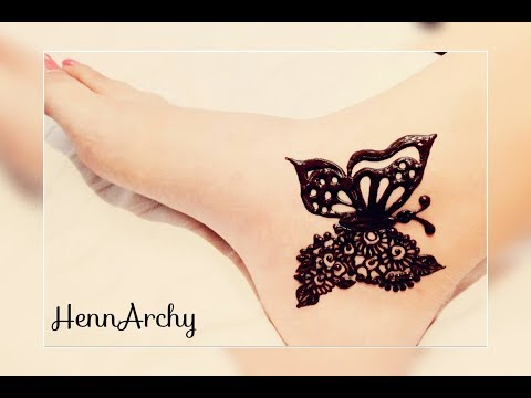 Cute Girlish Butterfly Henna Tattoo For Foot😍  By HennArchy  