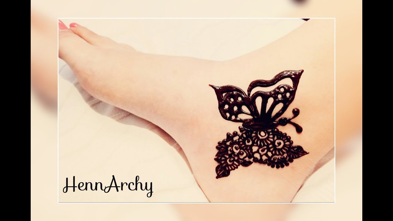 Cute Girlish Butterfly Henna Tattoo For Foot By Hennarchy