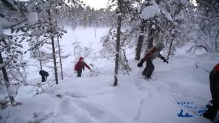 видео Прогулка на снегоступах по Лапландии.