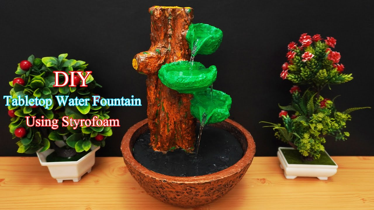 Amazing Bonsai Tree Waterfall Fountain Home Made Desktop Fountain Tree Trunk Fountain Diy Youtube