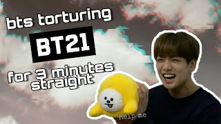 BTS torturing BT21 plushies for 3 minutes straight