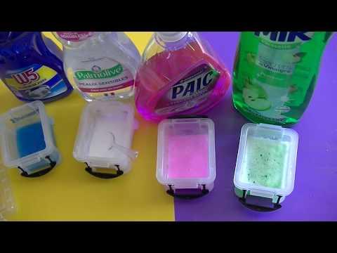 test de marques de liquide vaisselle pour faire du slime sans colle et sans borax