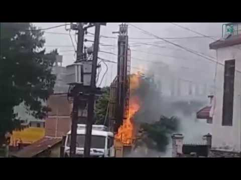 Fire in Bhaktapur after gases emerge while drilling ground for water