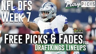 NFL DFS Week 7 Free Picks & Fades for DraftKings Lineups