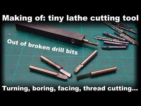 Making of: Small precize lathe tool out of broken drill bits [M4 internal thread cutting]