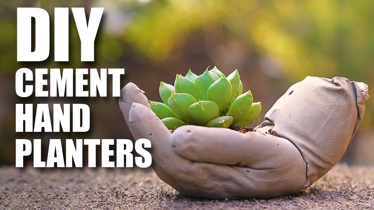 How To Make Diy Cement Hand Planters Youtube