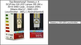 swees 4 stcke g9 led lampe 3w 64 x 3014 smd leds ersetzt 25w warm wei s