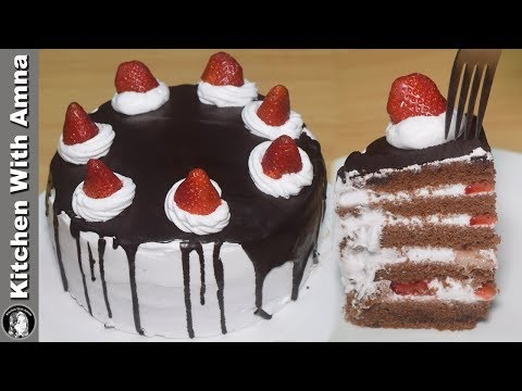Strawberry Chocolate Cake - Easy Cake Recipe Without Oven - Kitchen With Amna