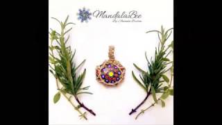 "Mandala Pendant ""Hot Sunrise"" - Natural Hemp"