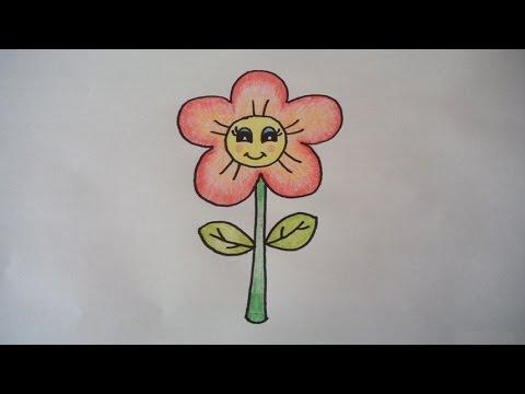 ดอกไม้น่ารัก สอนวาดรูปการ์ตูนง่ายๆ สอนวาดรูปการ์ตูนระบายสี How To Draw A Cartoon Flower Step by Step
