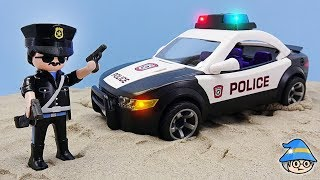The skateboarder boy met the police. Police toys story episode