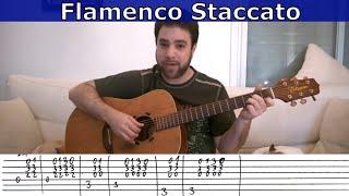 Fingerstyle Challenge #4 - Flamenco Staccato Riff -- Guitar Lesson w/ TAB
