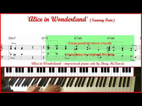 Alice In Wonderland - jazz piano (with trio) tutorial (High Definition)