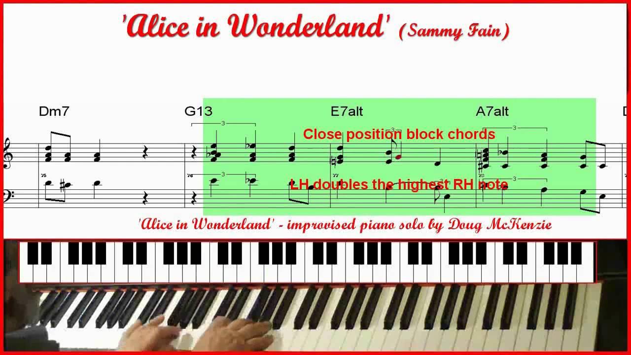 Alice In Wonderland - jazz piano (with trio) tutorial ...