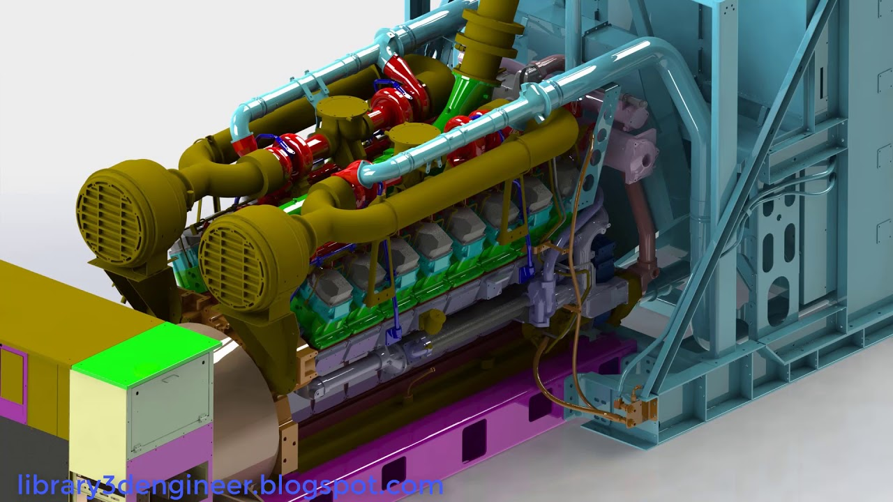 Giant generator diesel engine || Download free 3D models